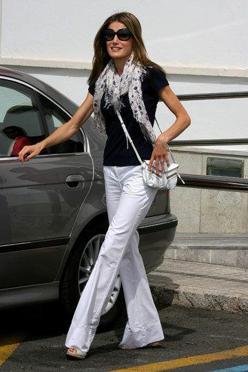 Princess Letizia of Spain, black and white with Jackie O sunglasses