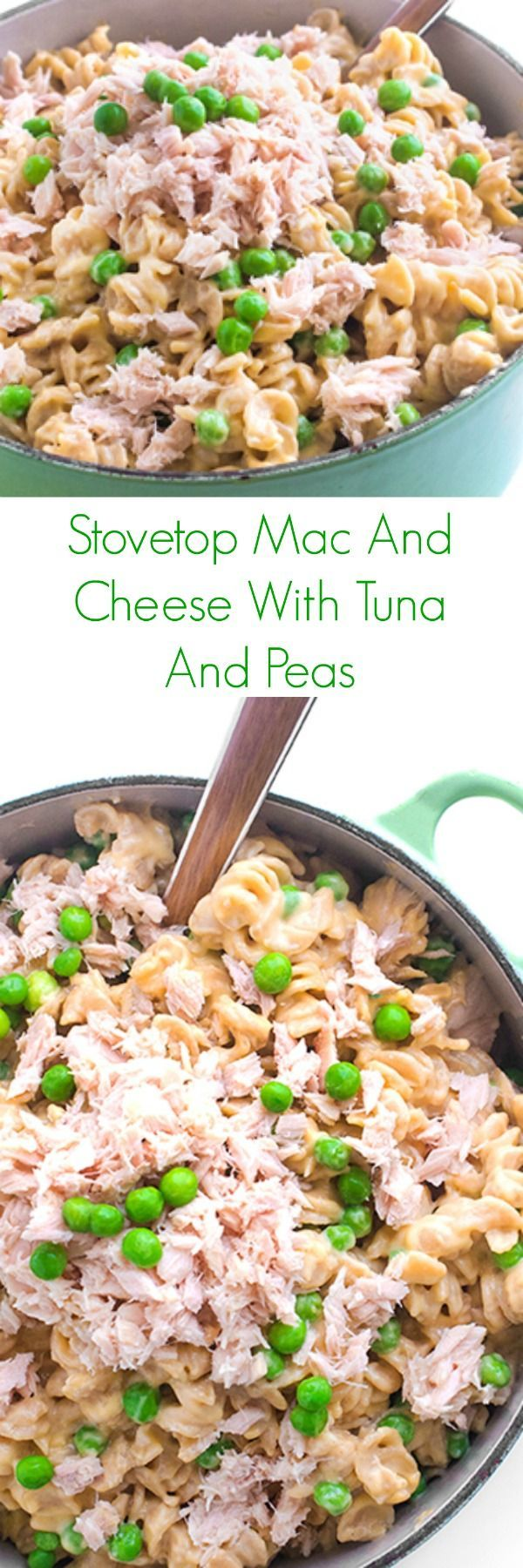 Stovetop Mac And Cheese With Tuna And Peas - A quick and easy kid-friendly pasta recipe, this Stovetop Mac and Cheese with Tuna and Peas is sure to be a family favorite weeknight dinner!