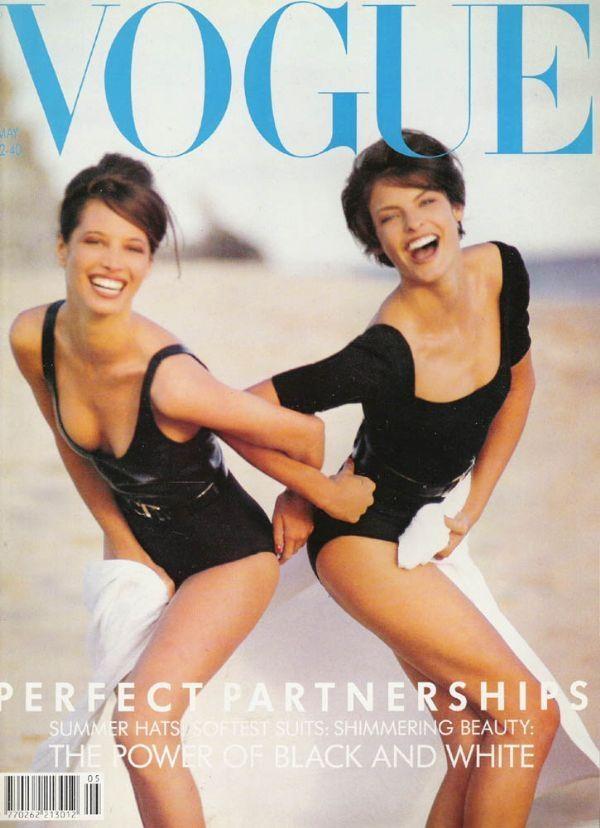 British Vogue May 1990. Models Linda Evangelista and Christy Turlington
