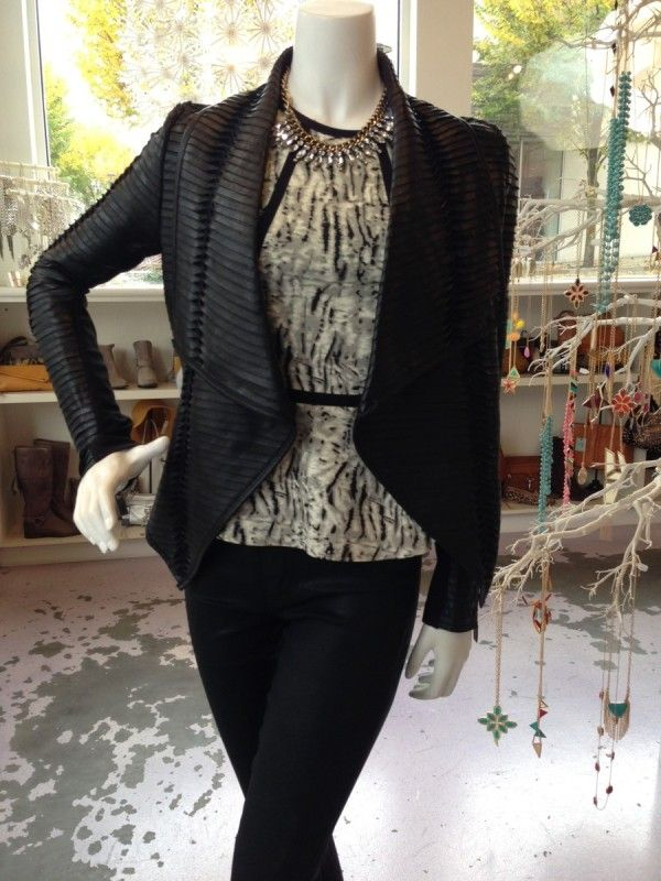"""What to Wear: November Events - From POSH: Parker """"Cove"""" Top: Parker """"Cove"""" $264 Jacket: Line $545 Denim: Hudson $189"""