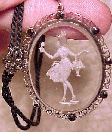 Art Deco Intaglio Glass Marcasites Pendant Necklace on Silk
