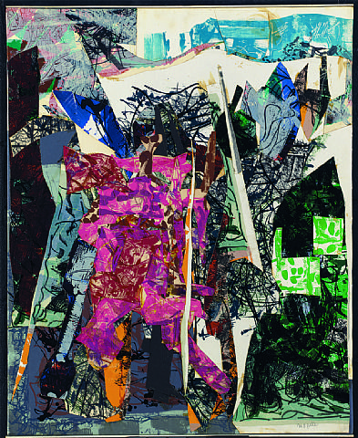 Paradisier by Jean Paul Riopelle,1967, collage/Paper, SIZE: h: 39.5 x w: 32 in