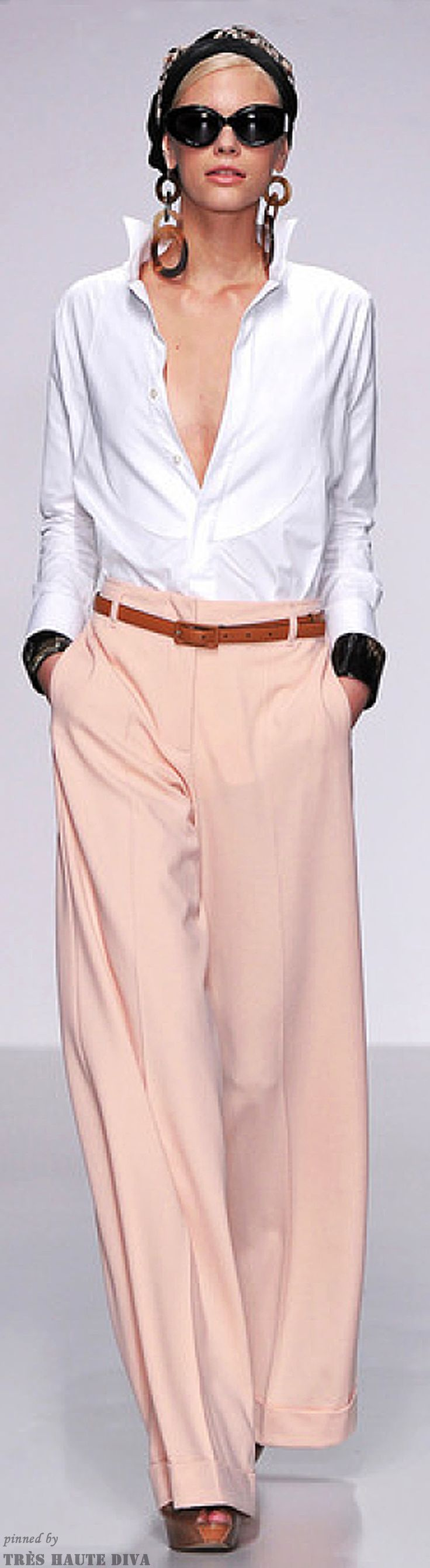 Love the on-trend loose, flowing pants. We'd button the blouse and wear our #ToplessTee #undershirt underneath of course.  FASHION AND STYLE ; Daks Spring 2014 RTW