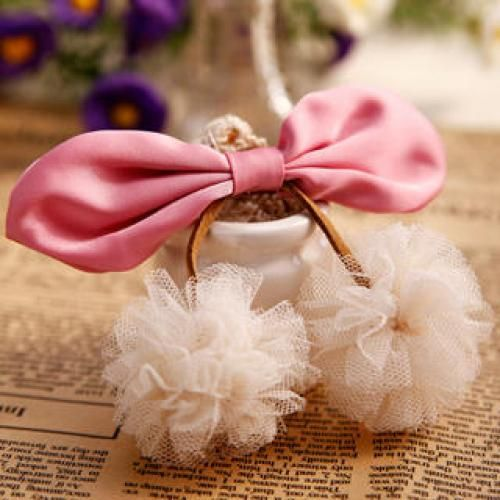 Pompom-Accent Bow Barrette Pink - One Size