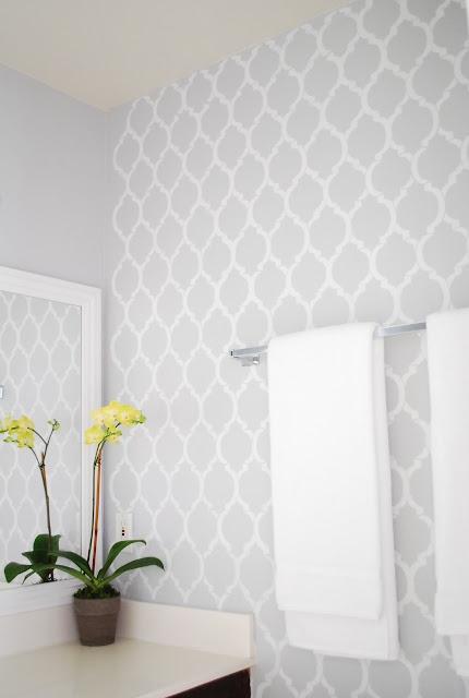 Stenciled wall by A Pumpkin and a Princess - http://apumpkinandaprincess.com/2012/01/diy-bathroom-makeover.html