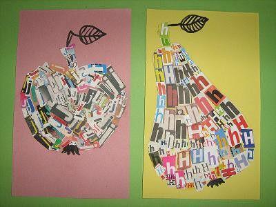 Jablko a hruška tvořené písmeny