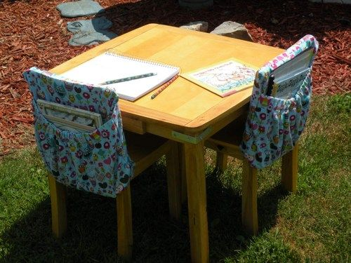 OWL Print KINDERGARTEN size classroom chair cover pocket organizer   CoffeeKidsNDolls - Children's on ArtFire