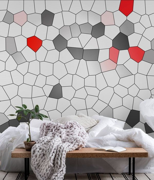 Mosaic White Grey Red Wallpaper In 2020 Red Walls Wall Murals Grey Red Wallpaper