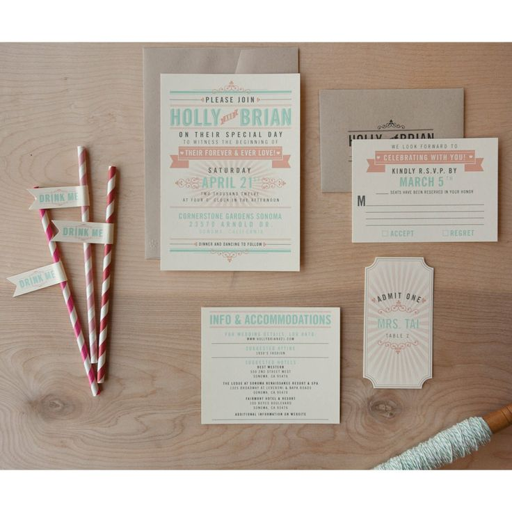 Offbeat Wedding Invitation coral and Aqua invitation
