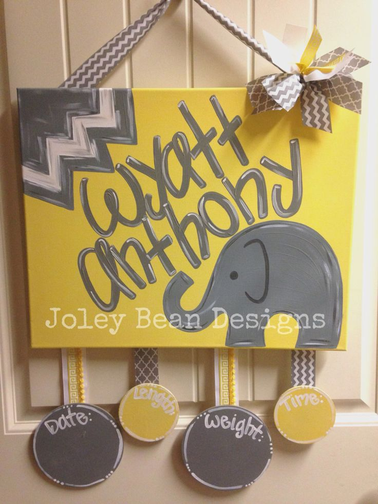 Boy door hanger, hospital door hanger, elephant, gray and yellow. Joley bean designs