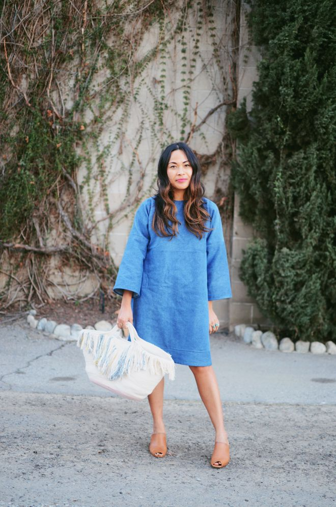 loose denim dress | that bag tho!