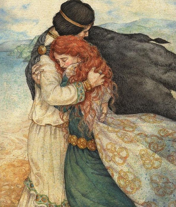 "Tristan & Iseult. ""Ni moi sans vous, ni vous sans moi."" (""Neither me without you, nor you without me."") on pearl-nautilus. By unknown......."