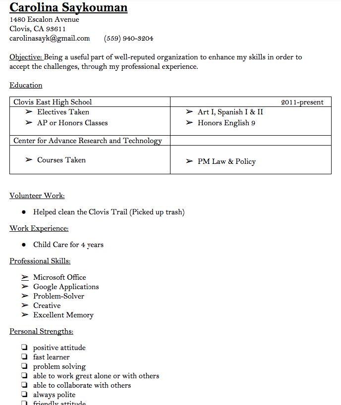 Child Care Worker Resume Carolina Saykouman 1480 Escalon Avenue - childcare worker resume
