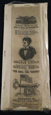 Abraham Lincoln Hannibal Hamlin Presidential Campaign Ribbon 1860 Election | eBay