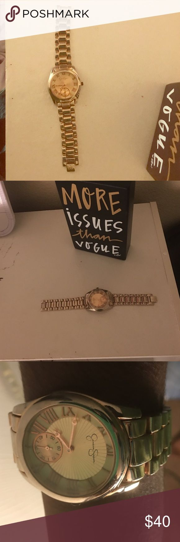 Watch Jessica Simpson gold watch. Stainless steel back. A little worn but still in very good condition. Jessica Simpson Jewelry