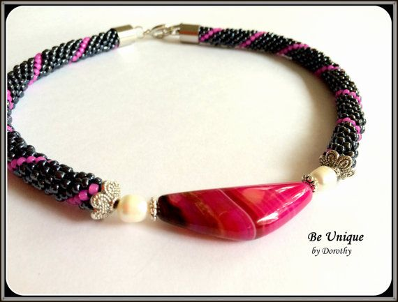 BEADED CROCHET rope NECKLACES/Pink by BeUniqueGallery on Etsy