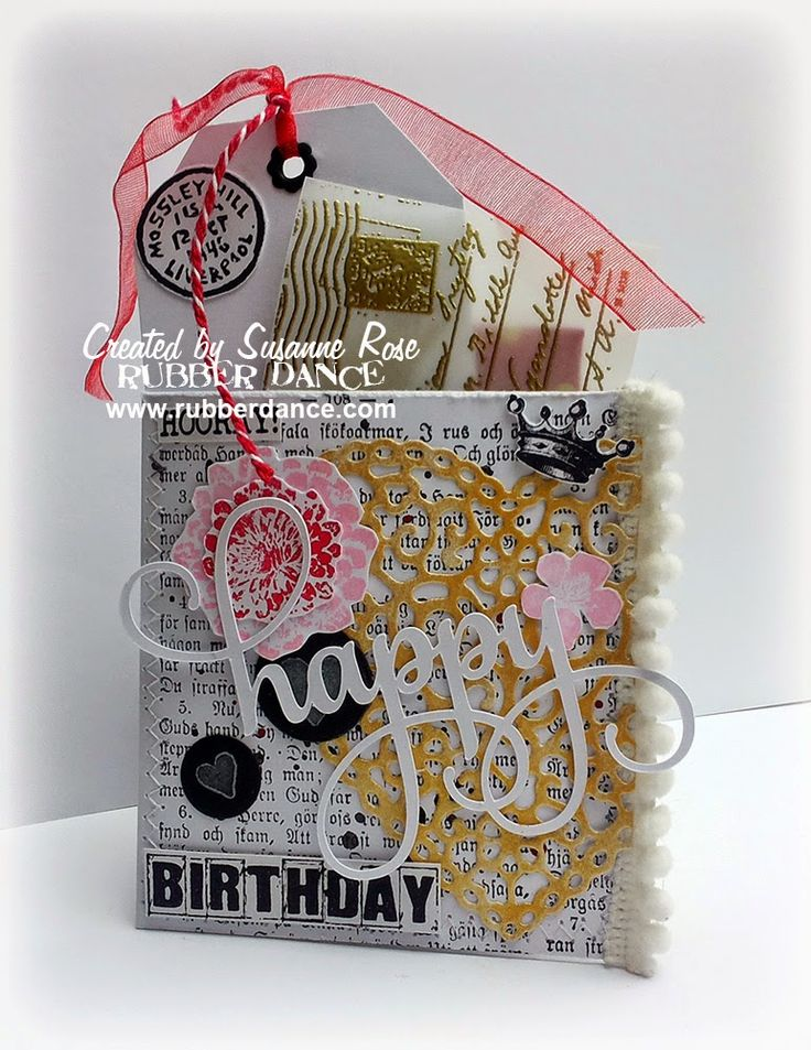 Pocket Birthday Card with stamps from Rubber Dance, made by Susanne Rose. This is an idea I have to remember!