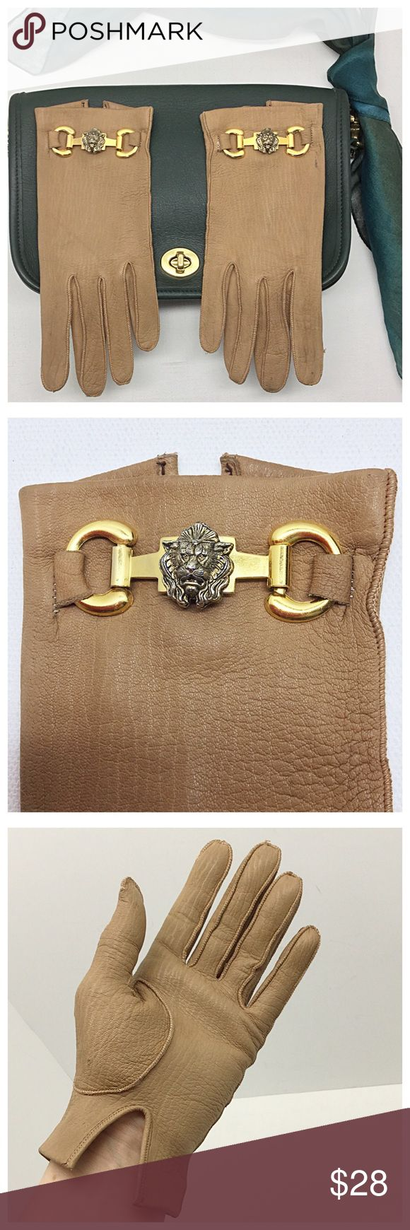 """✨Vintage Lion's Head Gloves✨ 🚫Trades/Holds🚫 *  Soft camel leather, brass-plated lion ornaments *  Bracelet length: about 8"""" middle fingertip to end *  Soft suede interior *  Size 7, about 6 3/4"""" around knuckles, middle finger length=3 1/4"""" *  Stretchy leather: my hand is 7 1/8 and these stretch to fit easily *  Pre-loved, tiny holes from price tag, marks near lion on 1 glove, some smudges on fingertips, not like-new but unique *  Covershot bag/scarf not included 🙂 Plz ask ?s if unsure of…"""