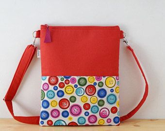 Red tote,canvas tote bag,rainbow tote bag,buttons print,red purses,crossbody bag,crossbody purse,red fabric tote,red purse bag,rainbow print