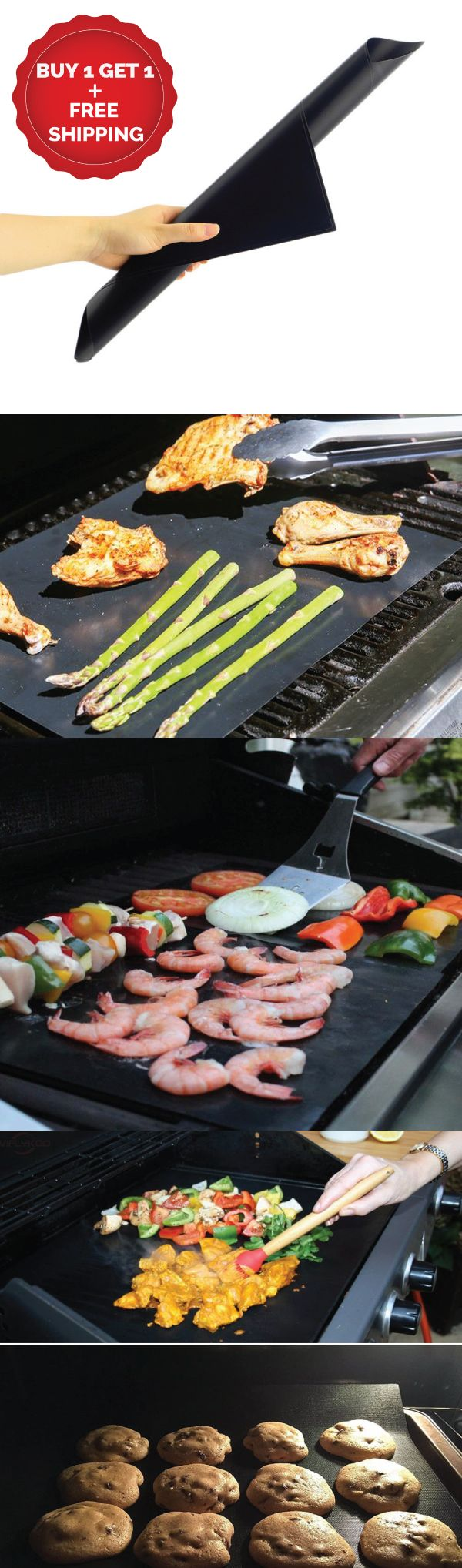 BBQ Grill Mat Sheet (Buy1-Get1 Set) They are made from the highest grade non-stick material.  100% PFOA free premium FDA approved PTFE coating just like your favorite nonstick pan. They are specially designed to cook your food evenly in temperatures up to 500°F. Easily cut the BBQ sheets to any size or shape to fit your needs. Use as a cooking sheet, vegetable basket, aluminum foil pan liner, baking sheet, microwave liner, drip catcher, camp grill, dehydrator sheet and of course a grilling…