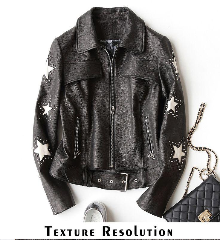 Gours Кожаные куртки для Для женщин зимние классические модные короткие мотоциклетная куртка черного цвета в стиле панк женские овчины Пальто и пуховикикупить в магазине GOURS official storeнаAliExpress