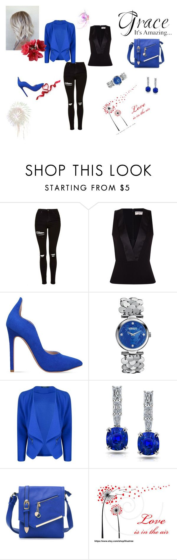 """""""*****"""" by lamija2015 ❤ liked on Polyvore featuring Topshop, Balenciaga, Carvela, Versus, Boohoo and MKF Collection"""
