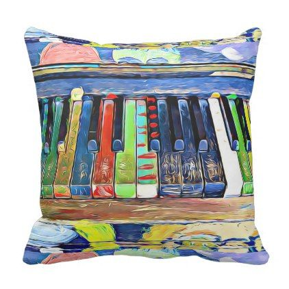Colorfully Painted Piano Keys Throw Pillow - love gifts cyo personalize diy