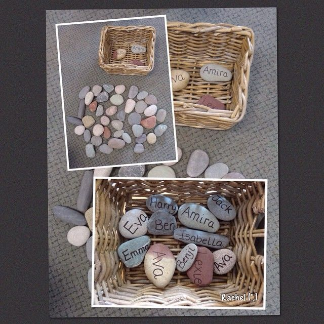 Self-registration name stones - the children place them in the basket as they arrive. #reggioinspired #stimulatinglearning #foundationstage #eyfs #earlyyears #teachersofinstagram #teachersfollowteachers #stones #nature