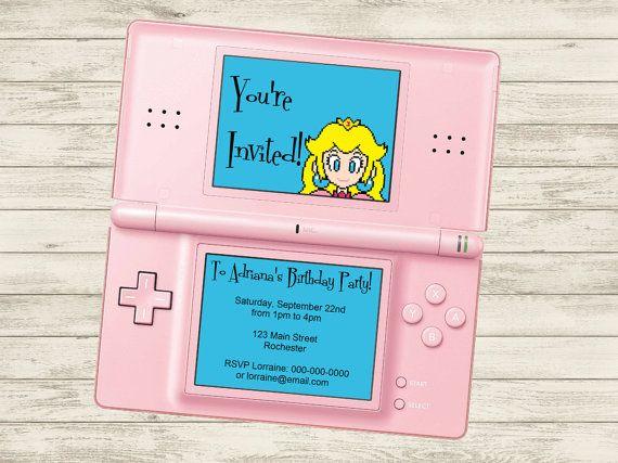 Princess Peach / Super Mario Video Game Birthday Party Invitation (Customizable DIY Printable)