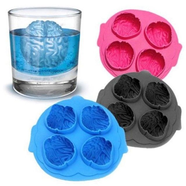 1pcs Creative Brain Shape Freeze Ice Cube Cutter Tray 4 Forms Cookies Chocolate Soap Baking Silicone Mold Ice Cube Chocolate Ice Cube Molds Ice Cube Tray Molds