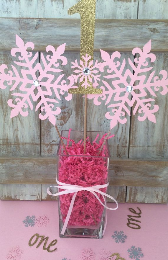 Winter onederland centerpiece frozen birthday pink