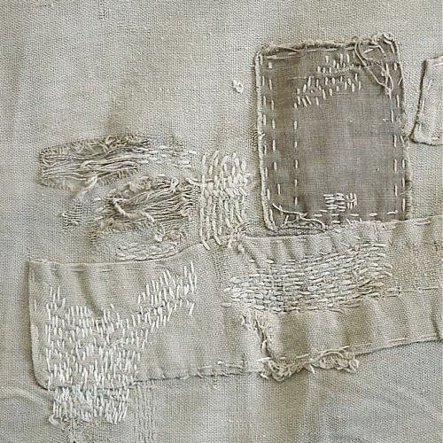 Japanese Boro* (*meaning 'rags') : describes lovingly patched and repaired cotton bedding, used much longer than the normal life cycle. Originated from period of post World War recovery, boro textiles were regarded with great shame. Now these beautiful textiles are cherished. ...This is like a little piece of abstract embroidery / textile art. | http://www.makersworkshop.net/2012/10/current-obsession-japanese-boro.html