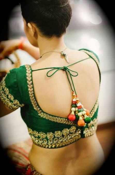 embroidery backless blouse
