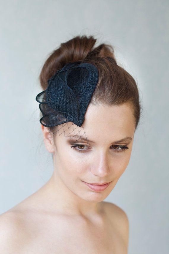 Bridal Millinery Hat with black veil, Black Headpiece, MIllinery Sinamay Hat, Bridesmaid Fascinator