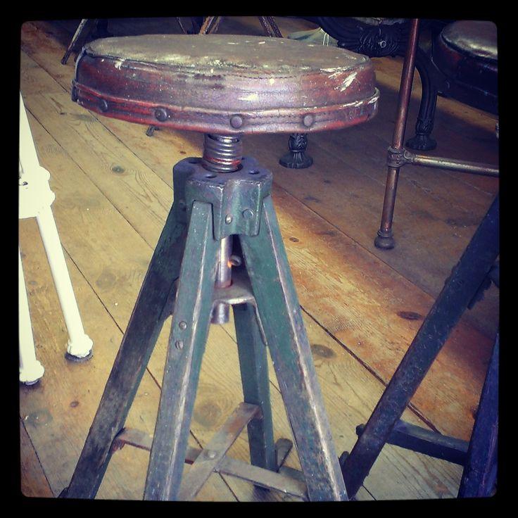 Antique Conductor's Stool ~ #stool #antique #industrial #decor *JoJo's Place www.jojosplace.com