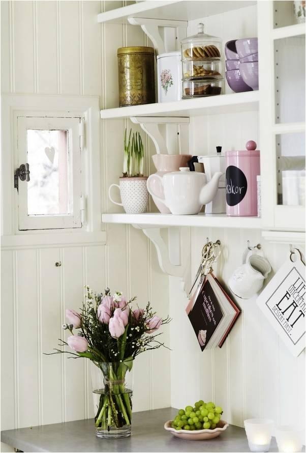 Pretty White Cottage Kitchen Shelves White Lavender