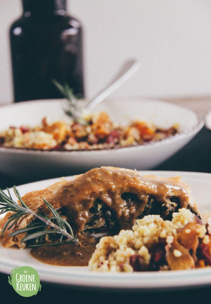 Vegan Wellington (with mushrooms, spinach and lentils) | De Groene Keuken #vegan #veganmofo #vgnmf15