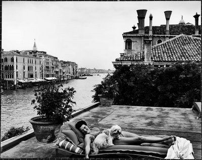 Peggy Guggenheim lounging on the roof of her Venetian Palazzo, circa 1950s