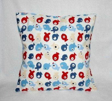 Fish Cushion Cover,  Ocean Theme Nursery Bedding, Bright Pillow, Playroom Pillow Cover, Kids Cushion, Red Blue Pillow, Kids Pillow