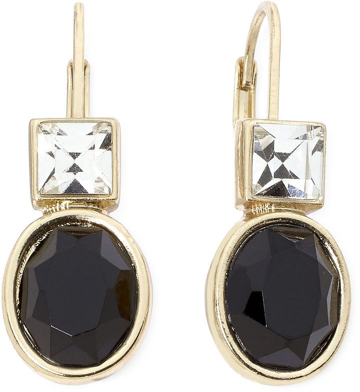 MONET JEWELRY Monet Crystal-Accent Black Stone Drop Earrings