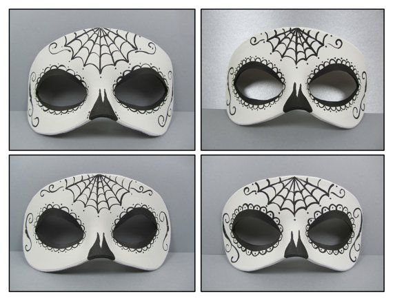 Day of the Dead Spiderweb Black and White Leather by maskedzone