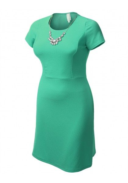 Basic A-Line Dress with Removable Crystal Necklace #jtomsonplussize