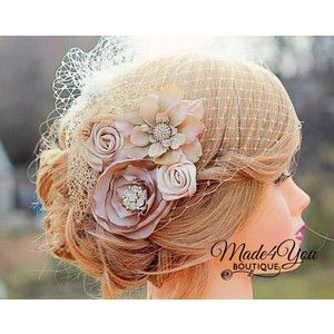 birdcage veil champagne - Google Search