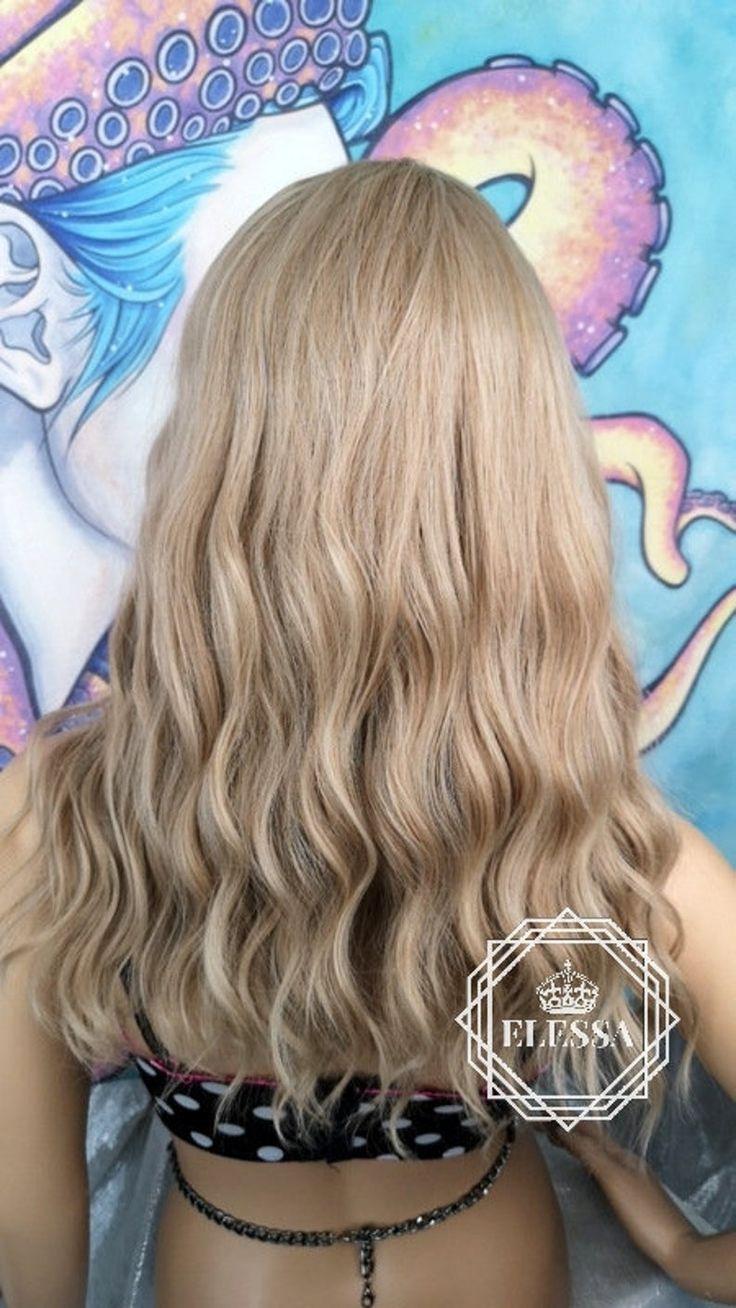 Medium Wavy Hairstyle Ash Blonde Mixed Color Wig, Wigs