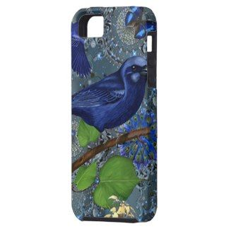 Cute vintage blue bird and butterfly iPhone 5 case