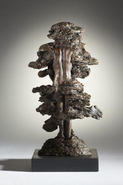 #Bronze #sculpture by #sculptor Laura Lian titled: 'Earth Mother (Small Modern nude Bronze Wood Nymph Tataues/sculptures)'. #LauraLian