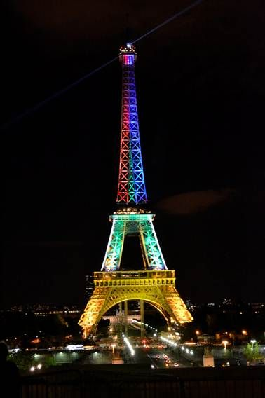 Eiffel Tower lit up in colours of the SA flag on 28.05.2013 to mark the opening of the South African Season in France! image source: IFAS