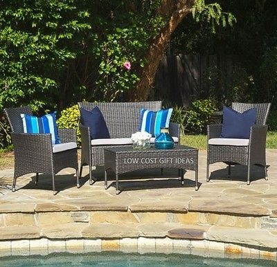 Wicker Patio Furniture Set 4 Pe Outdoor All Weather Deck Seating Clearance Sale