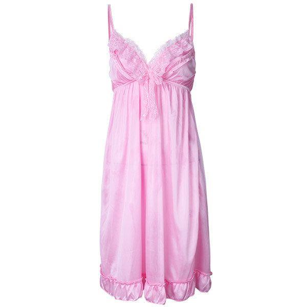 Sexy V Neck Ice Silk Nightdress Spaghetti Strap Sleepwear For Women