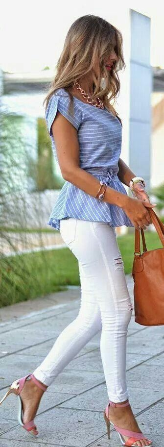 blue and white - ladies fashion style